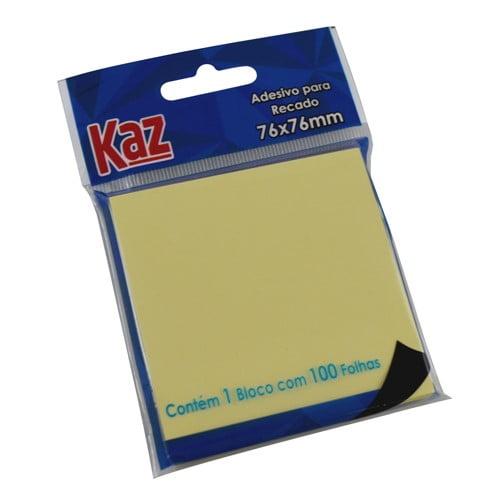 ADESIVO PARA RECADO 76X76 AM. COM 100FLS KZ2003A Marca: Kaz