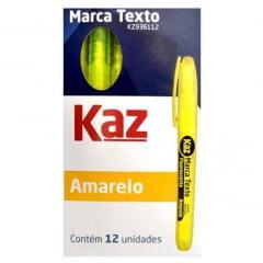 Kit 12 Marca Texto Amarelo Fluorescente KAZ