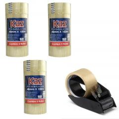 Kit Aplicador de Fitas Adesivas + 3 Packs de Fitas adesivas 100m KAZ transparente