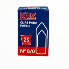 Clips P/ Papéis N 8/0 - Caixa com 25un